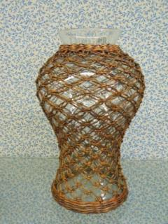 "Wicker Glass 11"" Tall 2 3/4\"" Opening"