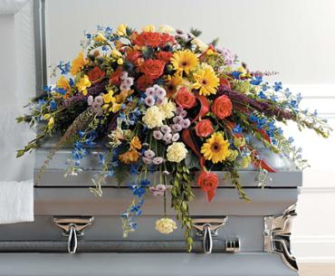 A Colorful Life Casket Spray