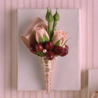 Pink & Brown Boutonniere