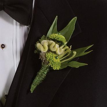 Green Button Boutonniere