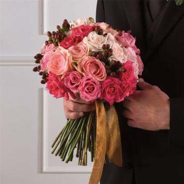 Pink Rose & Hypericum Bridal Bouquet